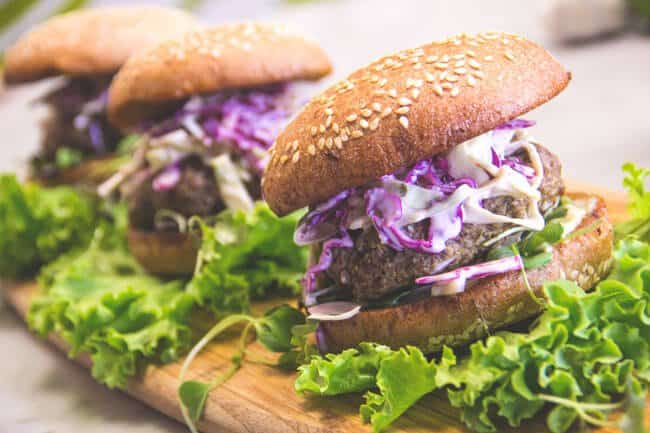 Local Grass-Fed Beef Burgers with Simple Slaw