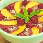 Raspberry Peach Acai Smoothie Bowl