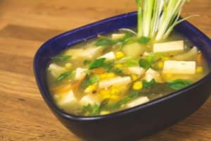 Asian Hot & Sour Corn & Tofu Soup