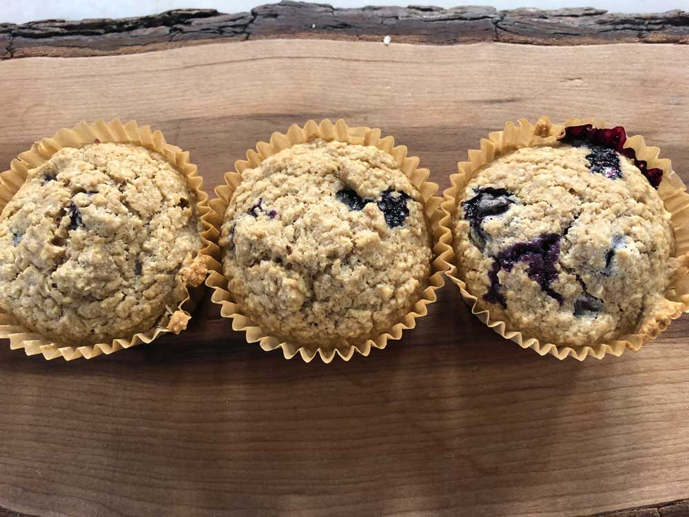 Finished Vegan Oat and Blueberry Muffins