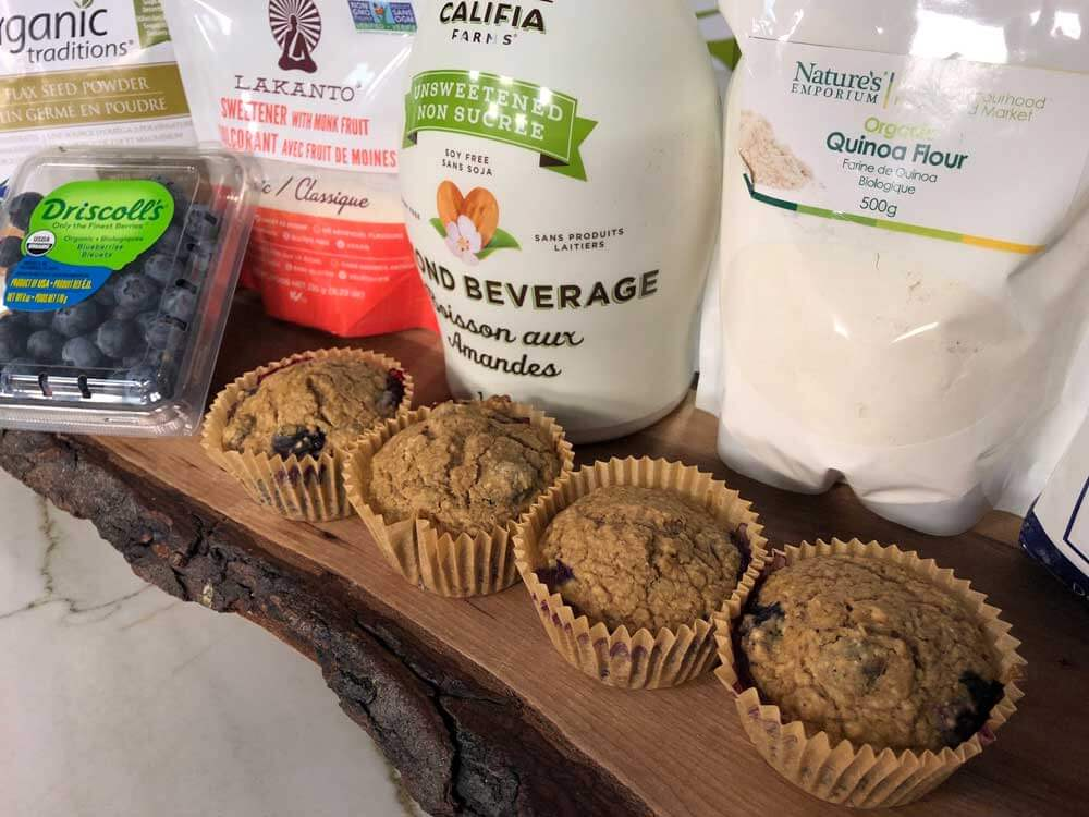 Vegan Oat and Blueberry Muffins with Natural and Organic Ingredients