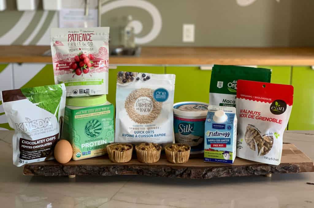 High Protein, Low Sugar Muffins with Natural and Organic Ingredients on platter