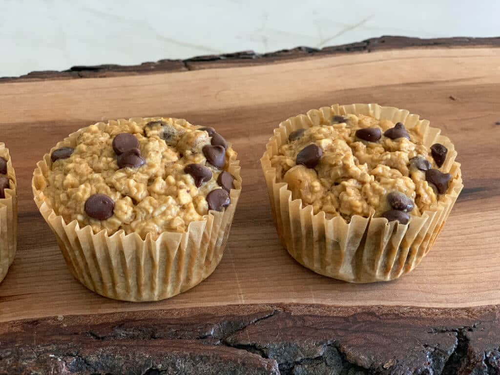 High Protein Low Sugar Muffins on wooden platter