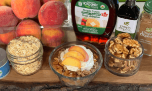 Peach Walnut Crumble made using organic ingredients
