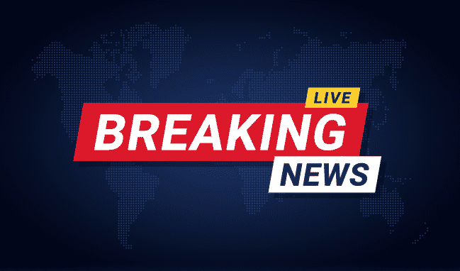 Breaking news banner template. Breaking news background for screensaver, lower third. Red and blue banner on stylized world map background.