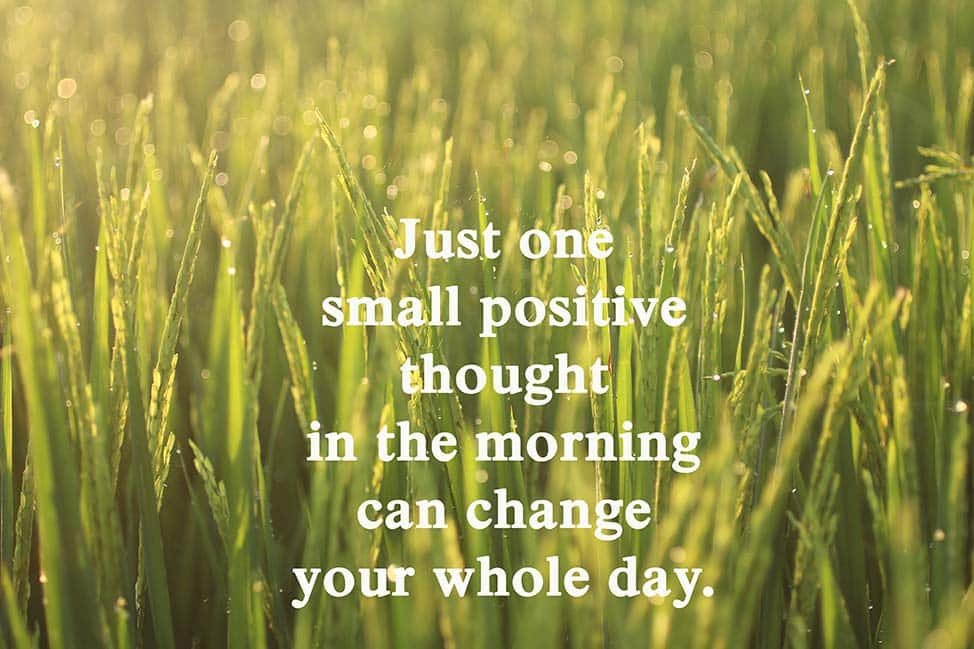 Inspirational motivational quote-Just one small positive thought in the morning can change your whole day. With background of golden morning light at sunset sunrise over paddy field background.