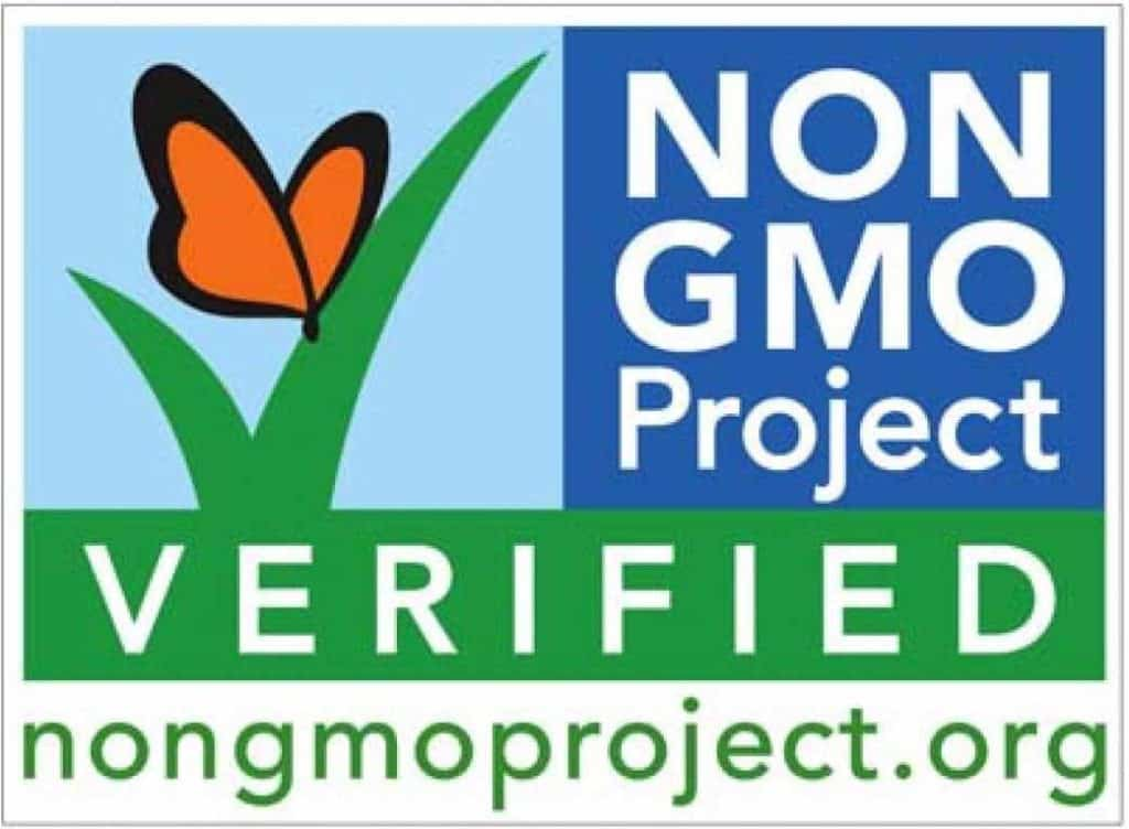 "The image reads ""The Non-GMO Project Verified nongmoproject.org"" with an insignia of an orange butterfly on top of a green checkmark."
