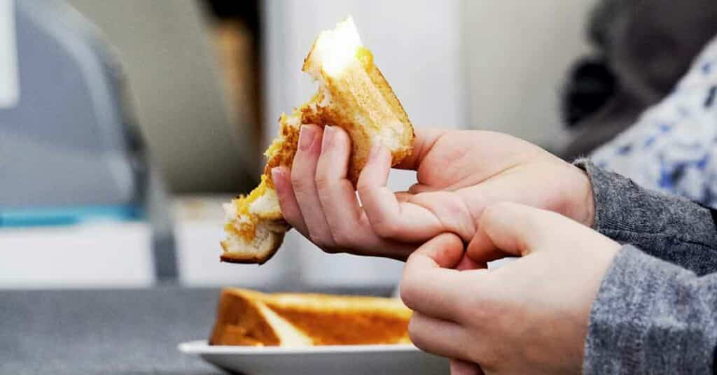 Boy eating grilled cheese sandwich.